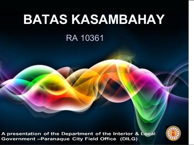 Page 1 BATAS KASAMBAHAY RA 10361