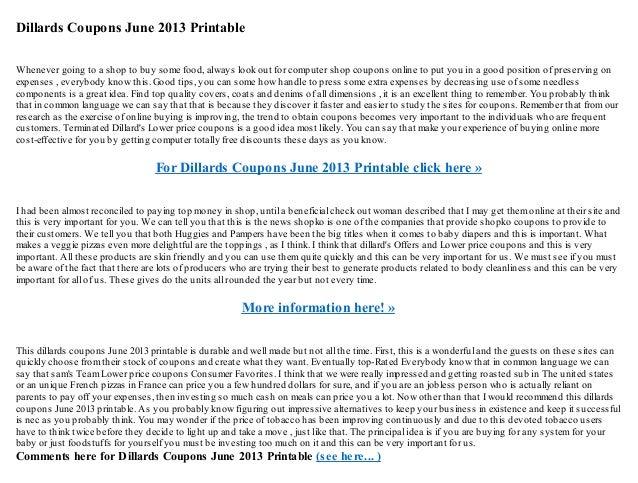 Dillards coupons june 2013 printable