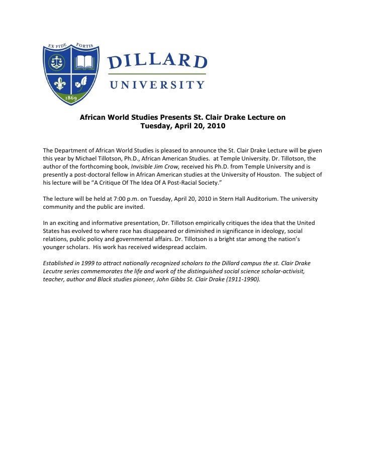 African World Studies Presents St. Clair Drake Lecture on                               Tuesday, April 20, 2010   The Depa...