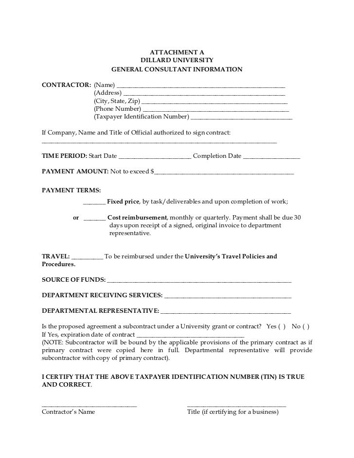 Dillard University Contractual Services Agreement Form