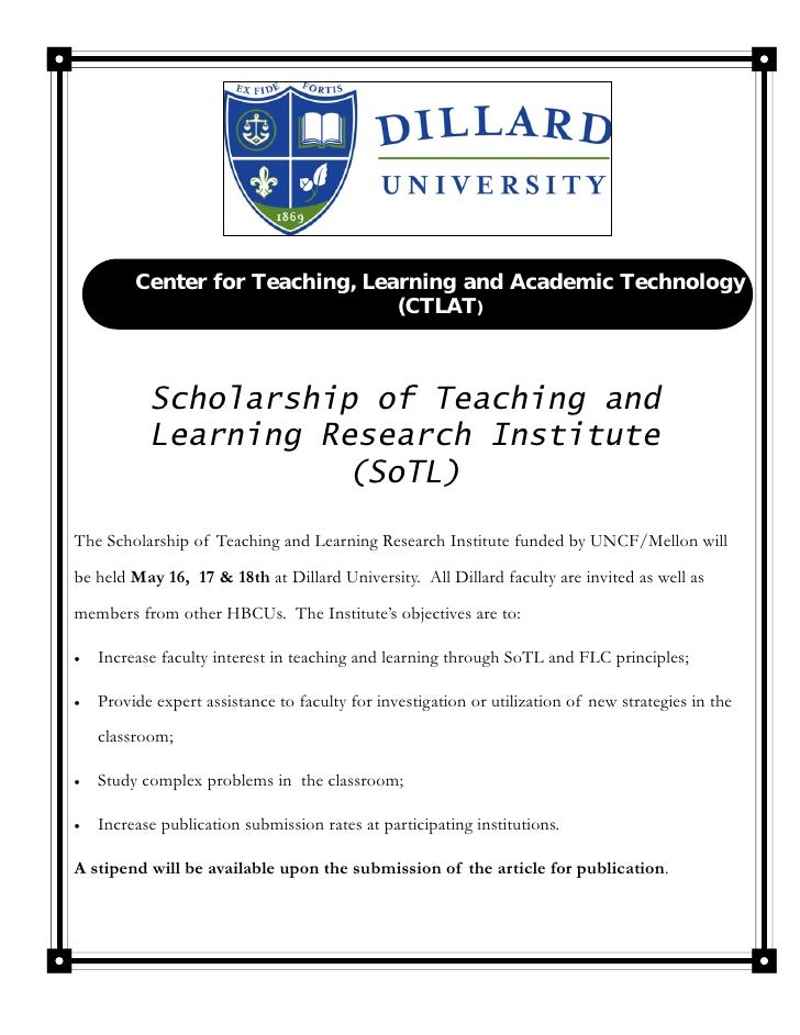 Center for Teaching, Learning and Academic Technology                                  (CTLAT)            Scholarship of T...