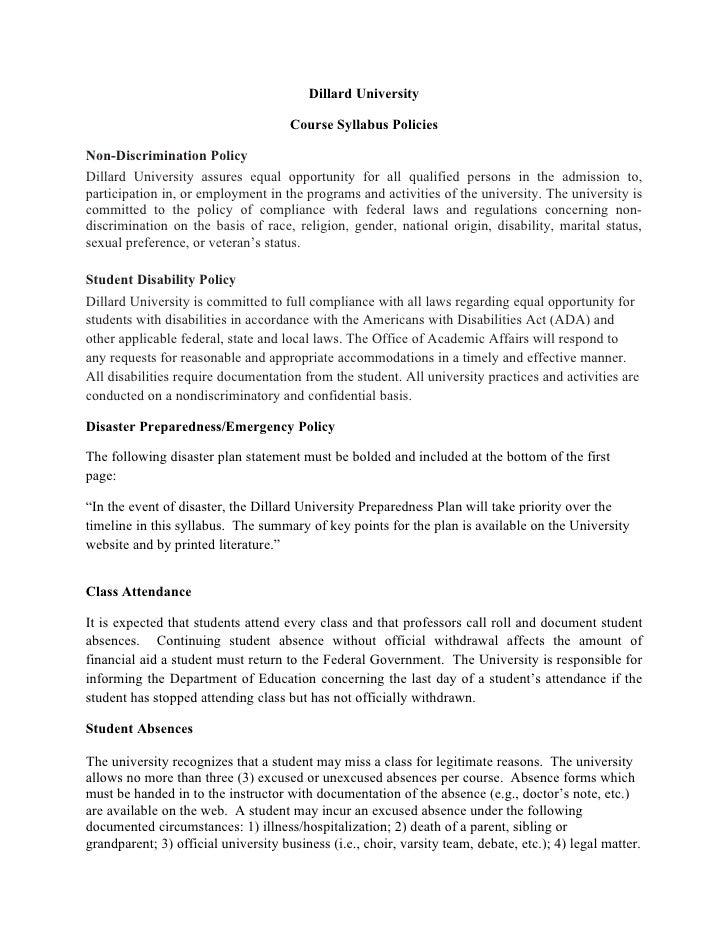 Dillard University                                      Course Syllabus PoliciesNon-Discrimination PolicyDillard Universit...