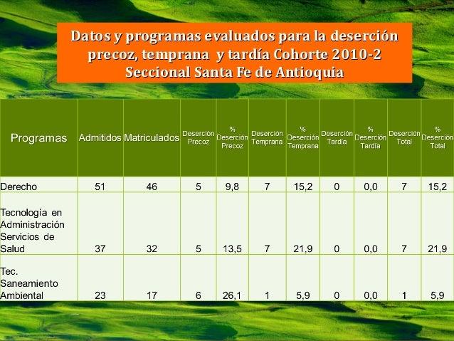 DIÁLOGOS DE SABERES EN LAS REGIONES           Datos y programas evaluados para la deserción             precoz, temprana y...
