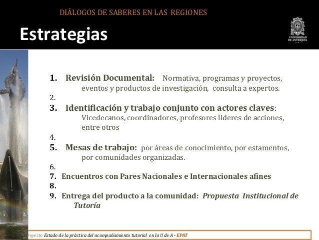 DIÁLOGOS DE SABERES EN LAS REGIONESEstrategias           1. Revisión Documental: Normativa, programas y proyectos,        ...