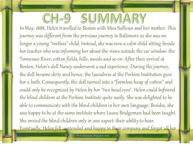 "story of my life chapter wise summary Supersummary, a modern alternative to sparknotes and cliffsnotes, offers high-quality study guides for challenging works of literature this 42-page guide for ""the story of my life"" by helen keller includes detailed chapter summaries and analysis covering 23 chapters, as well as several more in-depth sections of expert-written literary analysis."