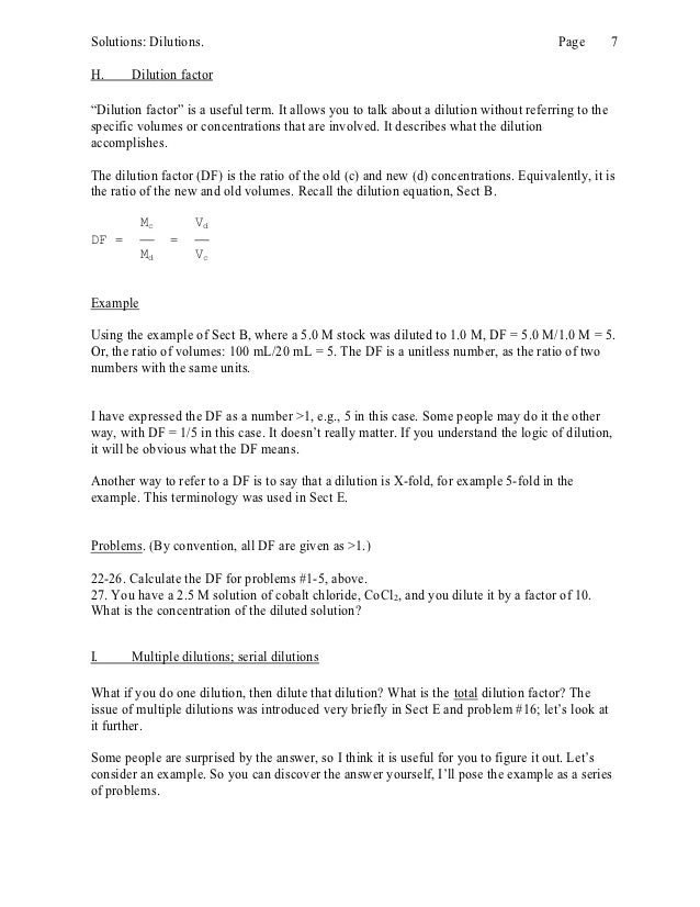 Dilution – Dilutions Worksheet
