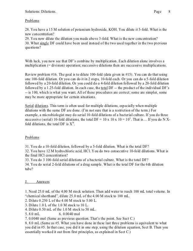 Clinical Chemistry Dilutions Worksheet - serial dilution equation ...