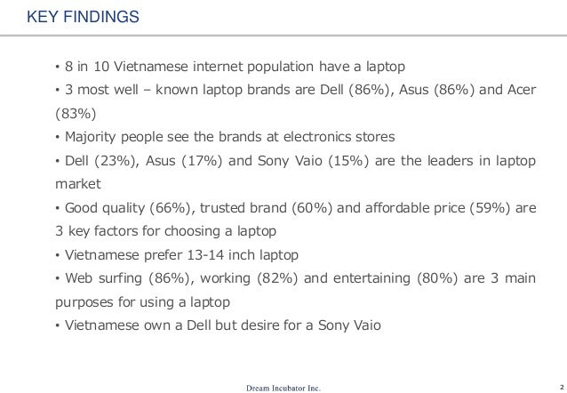 2 KEY FINDINGS • 8 in 10 Vietnamese internet population have a laptop • 3 most well – known laptop brands are Dell (86%), ...