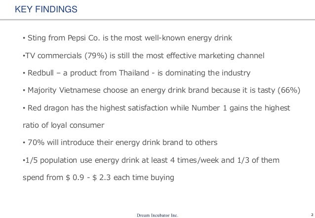 2 KEY FINDINGS • Sting from Pepsi Co. is the most well-known energy drink •TV commercials (79%) is still the most effectiv...