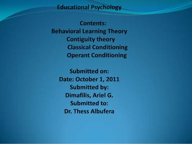 Educational PsychologyDeveloped by W. Huitt & J. Hummel (1999)