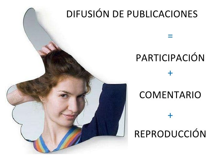 DIFUSIÓN DE PUBLICACIONES PARTICIPACIÓN COMENTARIO REPRODUCCIÓN = + +