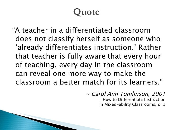 Differentiated Instruction In The Math Classroom