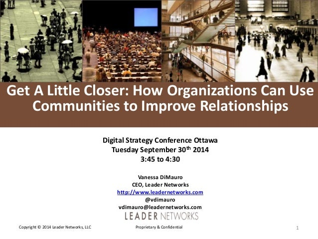 L E A D E R  NETWORKS  Get A Little Closer: How Organizations Can Use  Communities to Improve Relationships  Digital Strat...