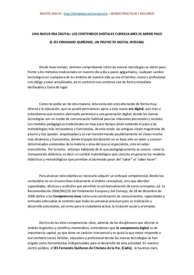 REVISTA DIM-35 - http://dimglobal.net/revista.htm – BUENAS PRÁCTICAS Y RECURSOS UNA NUEVA ERA DIGITAL: LOS CONTENIDOS DIGI...