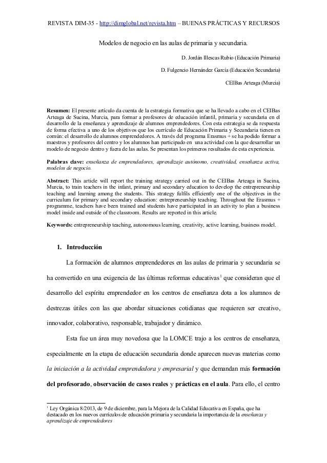 REVISTA DIM-35 - http://dimglobal.net/revista.htm – BUENAS PRÁCTICAS Y RECURSOS Modelos de negocio en las aulas de primari...