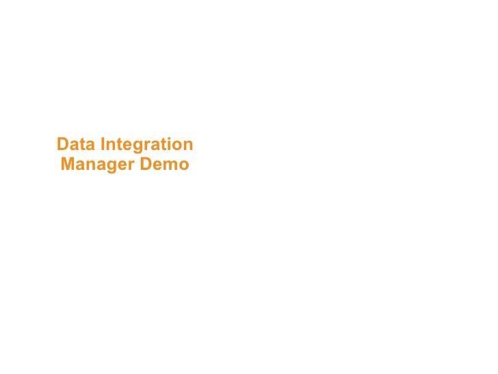 Data Integration Manager Demo