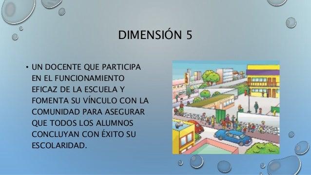 DIMENSIÓN 5 • UN DOCENTE QUE PARTICIPA EN EL FUNCIONAMIENTO EFICAZ DE LA ESCUELA Y FOMENTA SU VÍNCULO CON LA COMUNIDAD PAR...