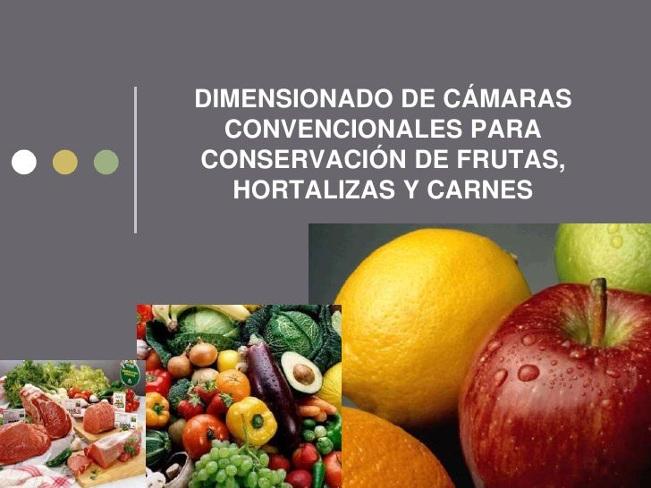 DIMENSIONADO DE CÁMARAS  CONVENCIONALES PARACONSERVACIÓN DE FRUTAS,   HORTALIZAS Y CARNES