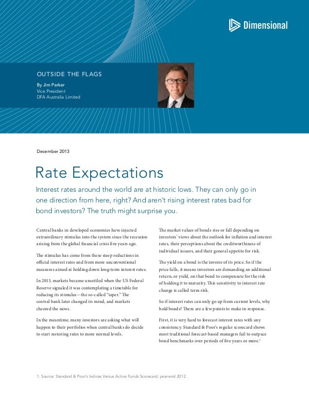 OUTSIDE THE FLAGS By Jim Parker Vice President DFA Australia Limited  December 2013  Rate Expectations Interest rates arou...