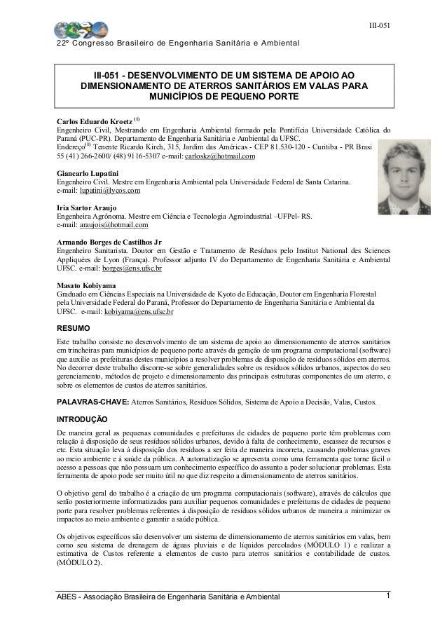 III-051 22º Congresso Brasileiro de Engenharia Sanitária e Ambiental ABES - Associação Brasileira de Engenharia Sanitária ...