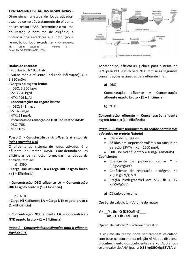 TRATAMENTO DE ÁGUAS RESIDUÁRIAS Dimensionar a etapa de lodos ativados, atuando como pós tratamento do efluente de um reato...