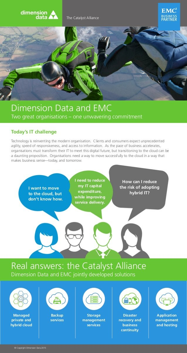 The Catalyst Alliance Dimension Data and EMC Two great organisations – one unwavering commitment Real answers: the Catalys...
