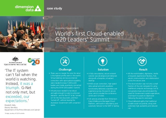 case study World's first Cloud-enabled G20 Leaders' Summit Australia | Government 'The IT system can't fail when the world...