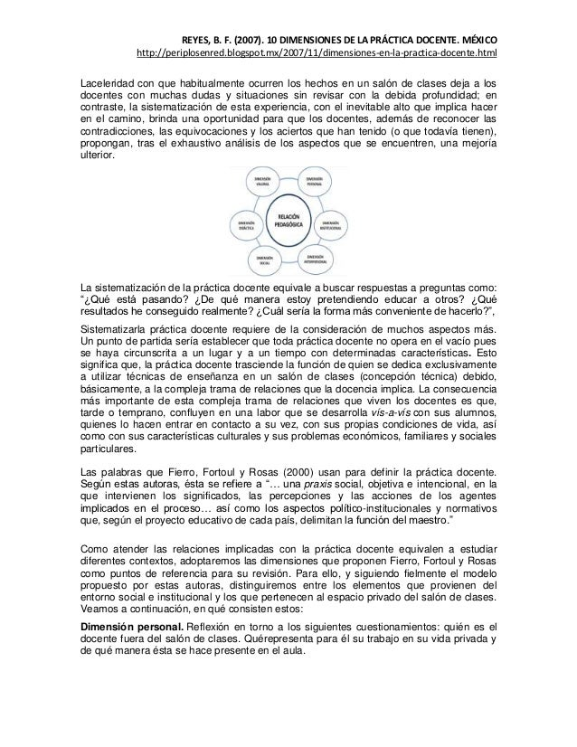 REYES, B. F. (2007). 10 DIMENSIONES DE LA PRÁCTICA DOCENTE. MÉXICO            http://periplosenred.blogspot.mx/2007/11/dim...