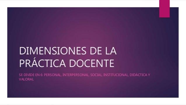 DIMENSIONES DE LA PRÁCTICA DOCENTE SE DIVIDE EN 6: PERSONAL, INTERPERSONAL, SOCIAL, INSTITUCIONAL, DIDÁCTICA Y VALORAL