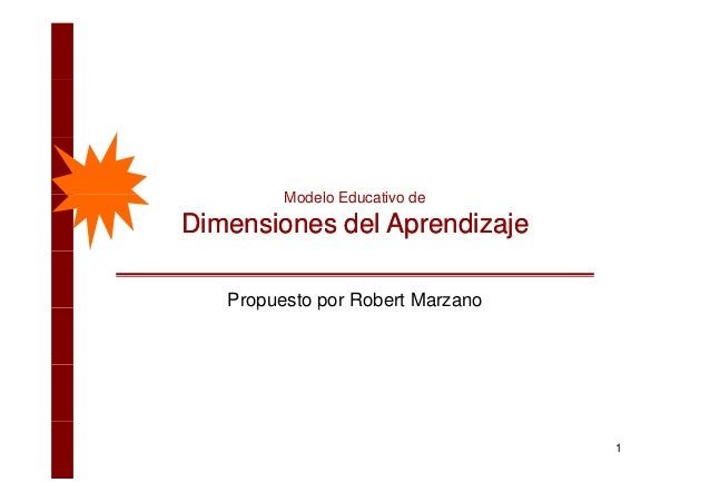 M d l Ed ti dModelo Educativo de Dimensiones del AprendizajeDimensiones del Aprendizaje Propuesto por Robert Marzanop p 1