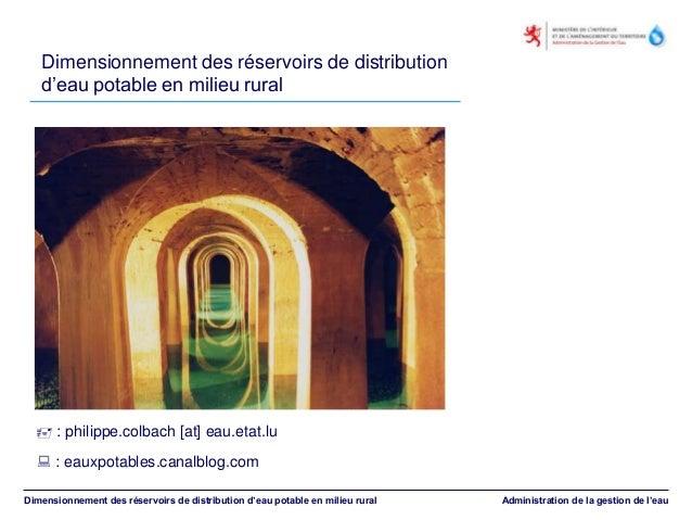 Dimensionnement des réservoirs de distribution d'eau potable en milieu rural Dimensionnement des réservoirs de distributio...