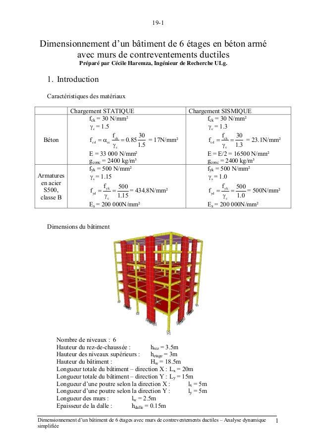 19-1 Dimensionnement d'un bâtiment de 6 étages avec murs de contreventements ductiles – Analyse dynamique simplifiée 1 Dim...