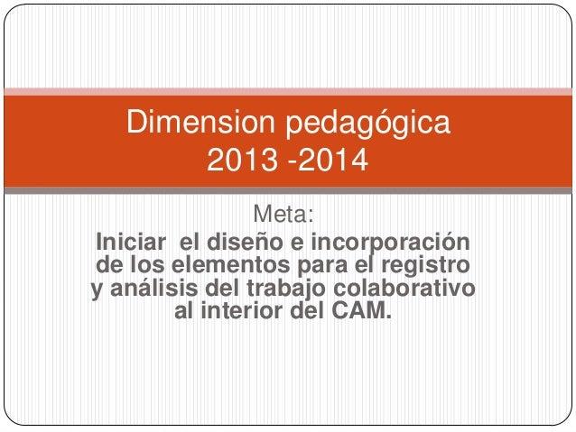 Dimension pedagógica 2013 -2014 Meta: Iniciar el diseño e incorporación de los elementos para el registro y análisis del t...