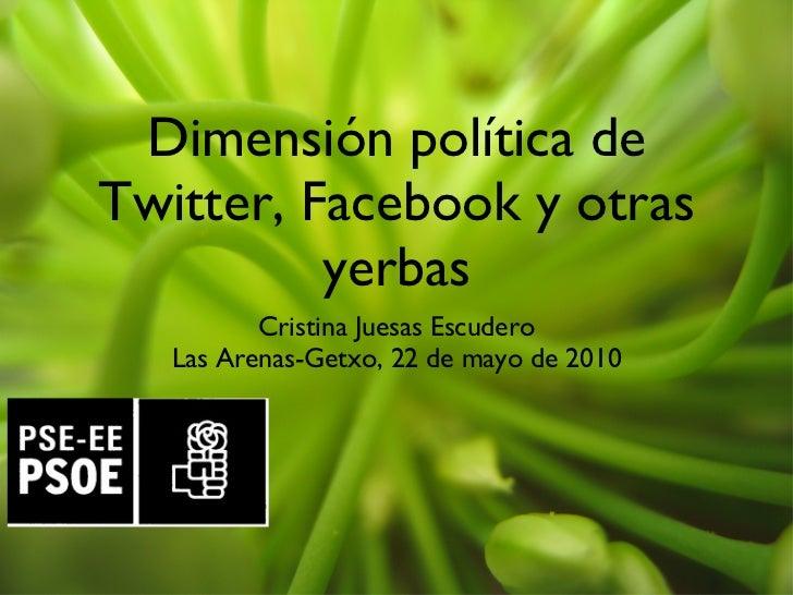 Dimensión política de Twitter, Facebook y otras yerbas <ul><li>Cristina Juesas Escudero </li></ul><ul><li>Las Arenas-Getxo...