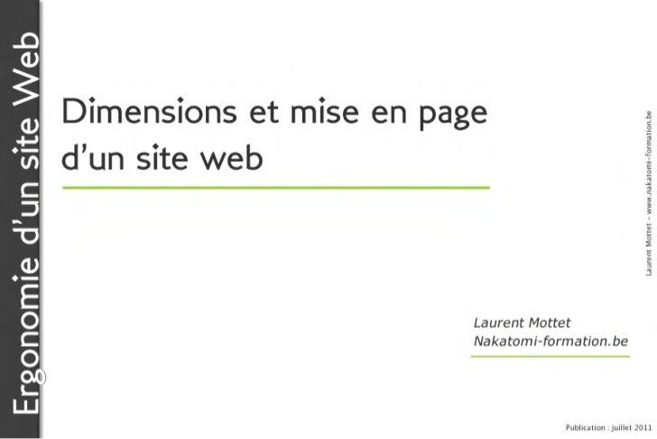 Ergonomie d'un site Web                          Dimensions et mise en page                                               ...