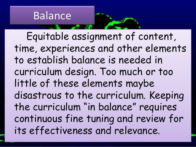 basic principles of curriculum content