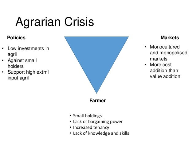 Agrarian Crisis Farmer Policies Markets • Small holdings • Lack of bargaining power • Increased tenancy • Lack of knowledg...
