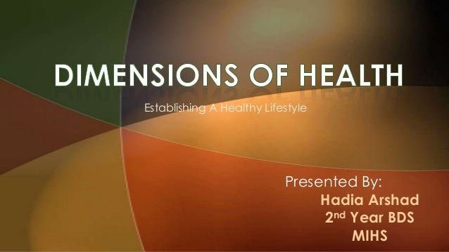 Establishing A Healthy Lifestyle Presented By: Hadia Arshad 2nd Year BDS MIHS