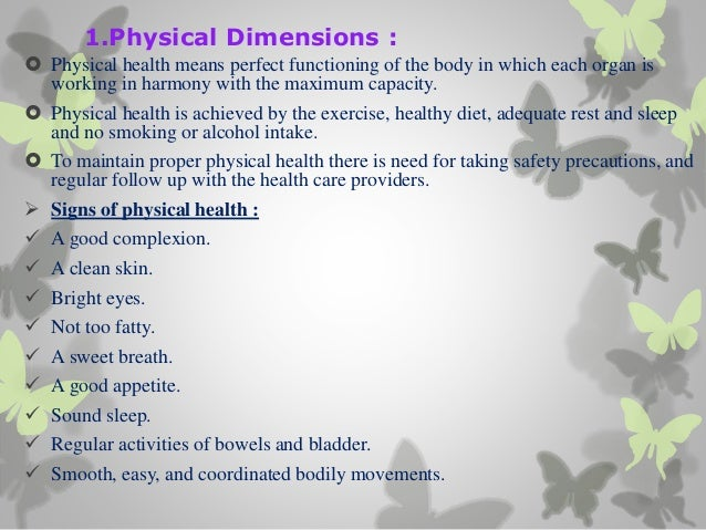 six dimensions of health essay Six dimensions of health essay howington and associates, aplc  identify which three of the six dimensions health are your read this essay on.