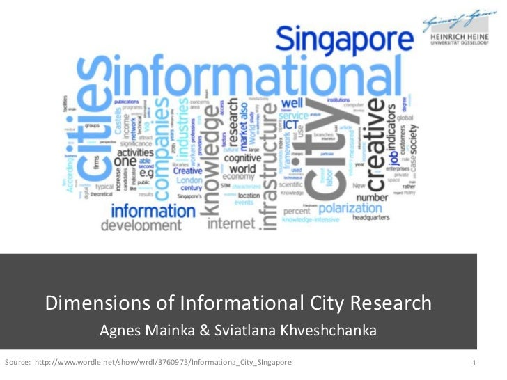 Dimensions of Informational City Research<br />Agnes Mainka & Sviatlana Khveshchanka<br />1<br />Source:  http://www.wordl...