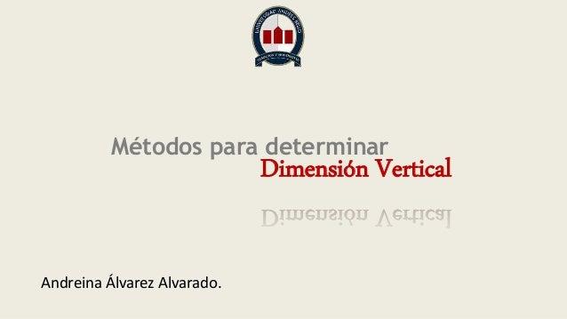 Métodos para determinar Dimensión Vertical Andreina Álvarez Alvarado.