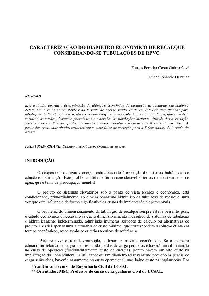 CARACTERIZAÇÃO DO DIÂMETRO ECONÔMICO DE RECALQUE         CONSIDERANDO-SE TUBULAÇÕES DE RPVC.                              ...
