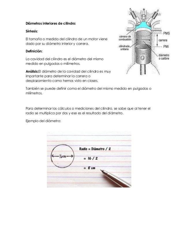 Diámetros interiores de cilindro