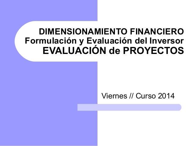 DIMENSIONAMIENTO FINANCIERO  Formulación y Evaluación del Inversor  EVALUACIÓN de PROYECTOS  Viernes // Curso 2014
