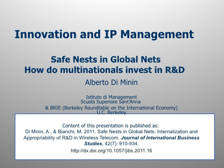 Innovation and IP Management      Safe Nests in Global Nets How do multinationals invest in R&D                           ...