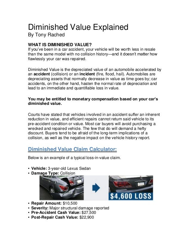 diminished value claim letter diminished value explained 21372