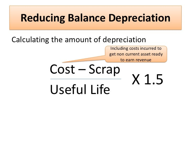 reducing balance method formula Two common ways of calculating depreciation are the straight-line and double declining balance methods excel can accomplish both using the sln function to calculate the straight line -- a standard.