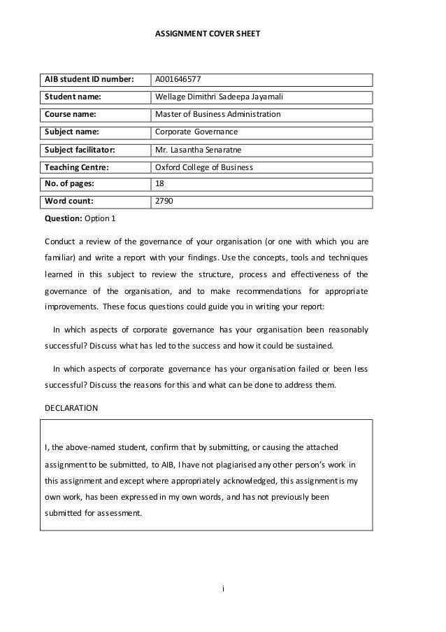 uq assignment cover sheet