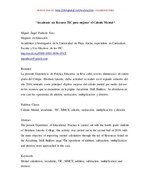 """REVISTA DIM-36 - http://dimglobal.net/revista.htm – COLABORACIONES """"Arcademic un Recurso TIC para mejorar el Cálculo Menta..."""