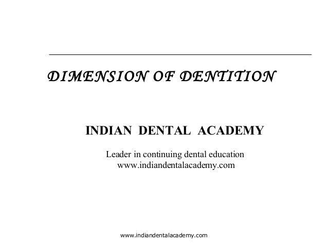 DIMENSION OF DENTITION INDIAN DENTAL ACADEMY Leader in continuing dental education www.indiandentalacademy.com  www.indian...